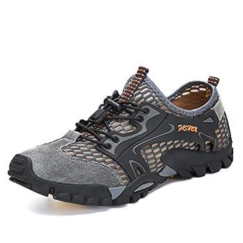 FLARUT Men s Sandals Barefoot Hiking Shoes Quick Dry Lightweight Outdoor Training Water Walking Shoes  Gray EU44