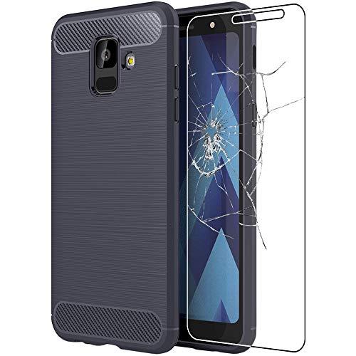 ebestStar - Funda Compatible con Samsung A6 Galaxy 2018 SM-A600F Carcasa Silicona Gel, Protección Fibra Carbono Ultra Slim Case, Azul Oscuro + Cristal Templado [Aparato: 149.9 x 70.8 x 7.7mm 5.6 ]