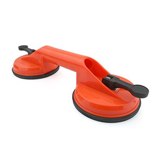 Incutex 1er Set Doppelsaugheber 100 kg Hebekapazität Glasheber Glassauger Vakuumheber Saugheber mit 2 Saugnäpfen – orange