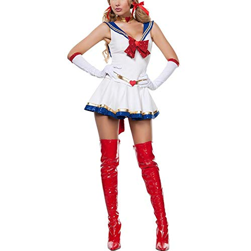 lingzhuo-shop Schöne Mädchen Cartoon Kostüm Rollenspiel Film schöne Dame Kostüm Mädchen Kleid Halloween Kostüm Persönlichkeit charmant mit Bogen Matrosenanzug