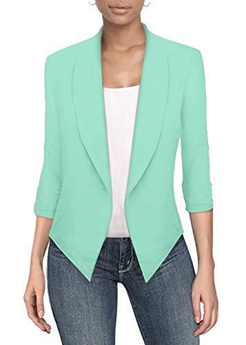 Womens Casual Work Office Open Front Blazer JK1133 Mint XL