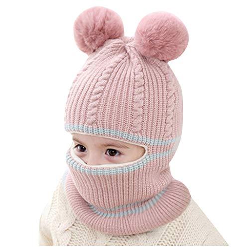 sunnymi ® Baby Jungs Mädchen Pompon Mütze Winter Warm Knit Crochet Beanie Cap Scarf