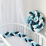 RAILONCH Tour de Lit 2m/3m Bébé Coussin Serpent Coussin Tressé pare-chocs Velours Bébé Protection Chambre Décor (Bleu foncé + bleu + blanc,200cm)