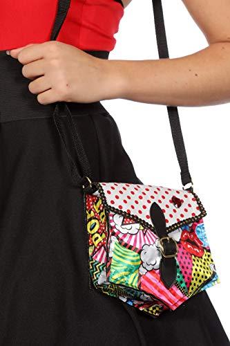 narrenkiste W48936 bunt Damen Disco-Party Tasche Pop-Art mit Schnalle Umhängetasche