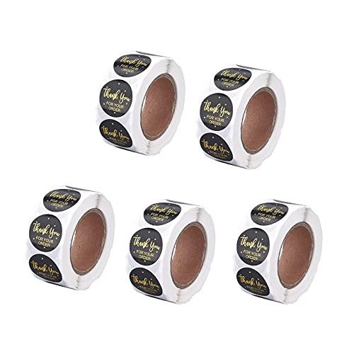 Ornaland 500 Piezas/Rollo de Pegatinas de Piel de Vaca Bronceada Serie de Agradecimiento Pegatinas Redondas Hechas A Mano DIY Etiquetas Adhesivas de Regalo