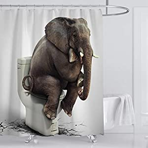 Whim-Wham Funny Heavy Elephant Sitting on a Toilet Thinking Shower Curtain Polyester Shower Curtain Waterproof Opaque Odorless Shower Curtain Set with 12 Hooks.