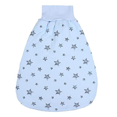 TupTam Baby Unisex Strampelsack mit breitem Bund Wattiert, Farbe: Graue Sterne Blau, Größe: 0-6 Monate
