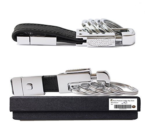 Olivery Valet Keychain Genuine Leather Elegant Key Chain 4 Detachable Key Rings (Black)