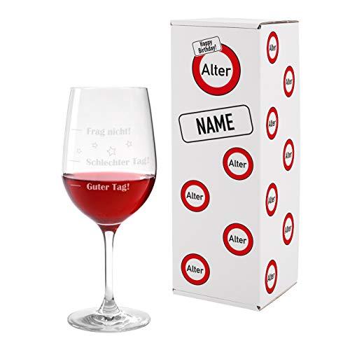 Herz & Heim® Leonardo Weinglas XL 610ml - Guter Tag - Schlechter Tag - Frag nicht! - das Stimmungsglas als lustige Geschenkidee 4 - inkl. personalisierter Verkehrszeichen Verpackung
