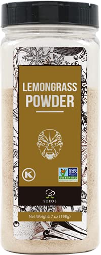 Soeos Lemongrass Powder 7oz (198g), Non-GMO Verified, Kosher, Freshly Ground Dried Lemongrass for Cooking and Tea, Vietnamese Herbs and Spices, Lemongrass Powder Bulk, Lemongrass Powder Seasoning.