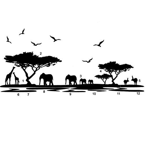 Africano Elefante Animales Pared Pegatinas Negro Mural Home Etiqueta Desprendible Del Vinilo Arte Habitación Decoración Diy