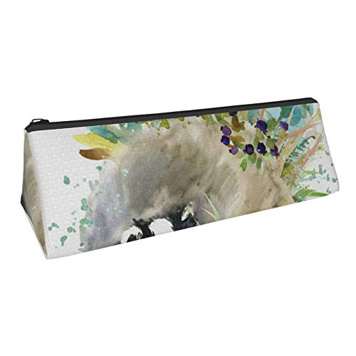 Badger. Forest Animals Watercolor Pencil case, Portable Stylish Triangle Pencil Bag with Zipper, Suitable for Student School