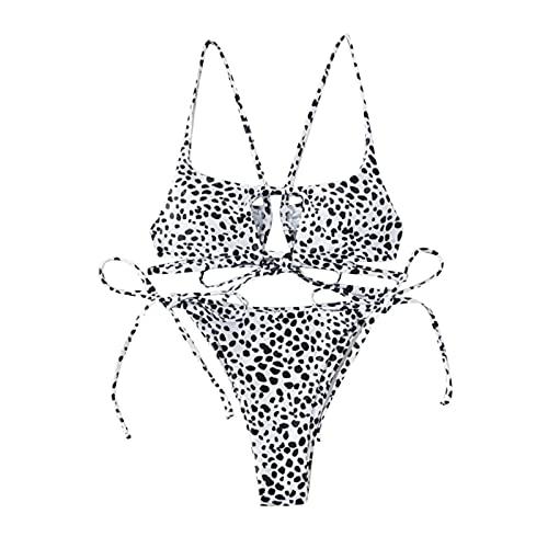 Mujeres Brasileño Tanga Sexy Serpiente Estampado Corbata Recorte Hueco Fuera Bikini Traje De Baño Prenda De Playa Prendas De Playa Acolchado Sujetador Sólido Triángulo ( Color : White , Size : M )
