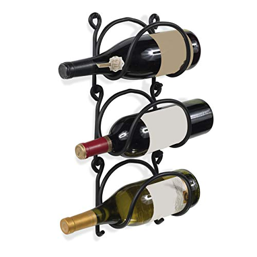 Wallniture Wrought Iron Wine Rack – Wall Mount Bottle Storage Organizer – Rustic Home Decor Set of 3