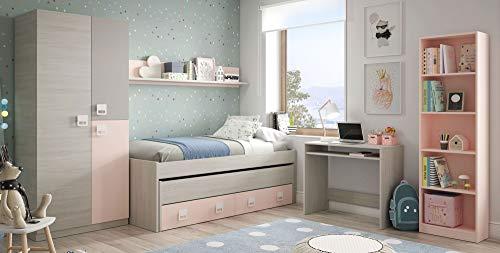 Miroytengo Pack habitacion Juvenil Infantil Completo (Cama Nido+Estante+Armario+Escritorio+estanteria) con SOMIERES