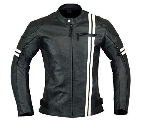 Chaqueta de motociclista de piel para hombre, con alta protección, color negro...
