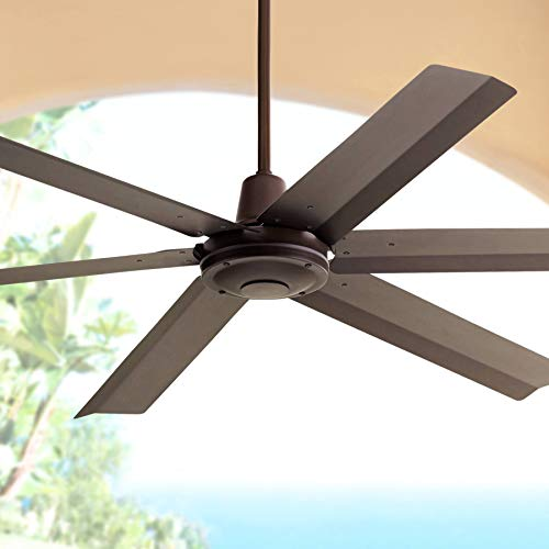 60' Turbina Max Modern Industrial Outdoor Ceiling Fan with Remote Brown Oil Rubbed Bronze Damp Rated for Patio Porch - Casa Vieja
