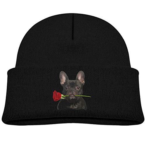 allgobee Toddler Beanie French Bulldog with Rose Baby Boy Girl Cap Slouchy Cotton Kid Warm Skull Knit Hat