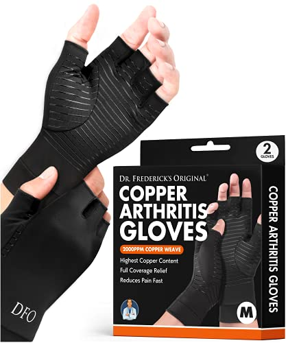 Dr. Frederick's Original Copper Arthritis Glove - 2 Gloves - Perfect Computer Typing Gloves - Fit Guaranteed - Medium