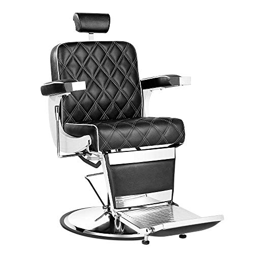 Paddie Salon Barber Chair All Purpose Vintage Heavy Duty Reclining Hair Stylist Equipment for Deluxe Barbershop Beauty Spa Shampoo, Black