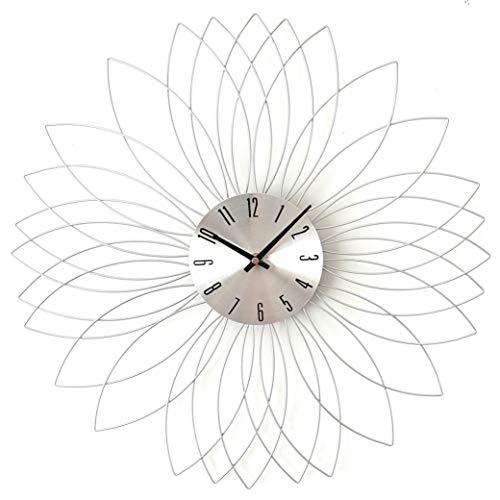 Audace Deco - Reloj de pared con diseño de flor de metal plateado, 50 cm de diámetro