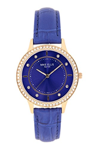 Mike Ellis New York Damen-Armbanduhr Blue Line Analog Quarz Leder SL5612A1