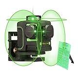 Sfeomi Nivel Láser de 12 Líneas 3D Nivel Láser Giratorio de 360 ° Laser Level con Rayo Verde Nivel Laser para Plano Horizontal y Vertical Nivel Láser Autonivelante de Alta Precisión