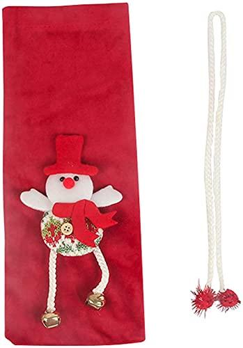 HVKLHNF Rotweinflasche Tasche Auffälliger Verschleißfester Stoff Weihnachtsdekoration Tasche Haushalt Schneemann
