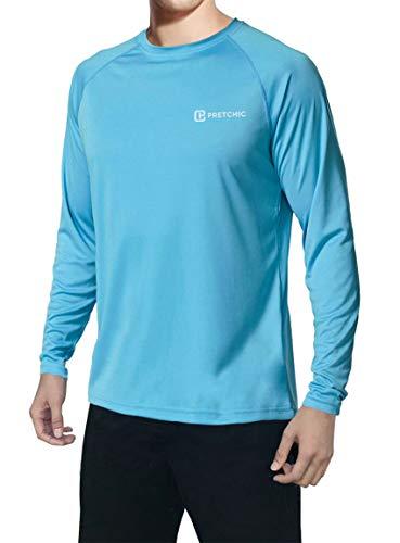 Pretchic Men's UPF 50+ UV Sun Protection Long Sleeve Outdoor T Shirt Blue L