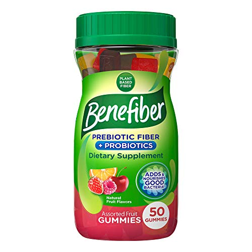 Benefiber Assorted Fiber Fruit Gummies for digestive health Prebiotic and Probiotic Supplement with natural fruit flavors, 50 Count (Pack of 1)