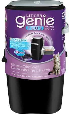 Litter Genie Plus Pail, Ultimate Cat Litter Disposal System, Locks Away Odors, Includes One Refill, Black