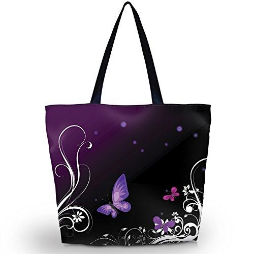 Strandtasche, Reisetasche, Einkaufstasche für Damen, faltbar, wasserdicht, abendliche Handtasche, violettfarbener schmetterling (Violett) - LYSB00TF84I0Q-OFFSUPPLIES