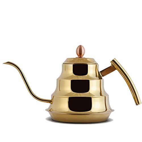 Bouilloire induction Bouilloire En Acier Inoxydable Poignée Ménagère Longue Bouche Brûlant Théière Bouilloire Électrique Céramique Céramique Spécial Simple Plat Fond Pot WHLONG (Color : Gold)