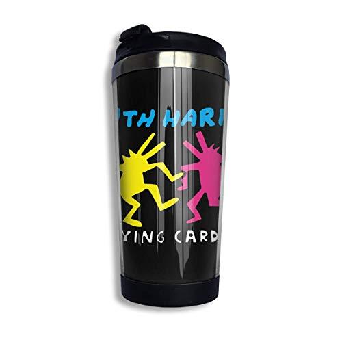 Keith Haring Edelstahl-Isolierkaffeebecher für die Reise, auslaufsicherer Klappdeckel Isolierte Kaffeetasse hält heiß oder kalt 400 ml