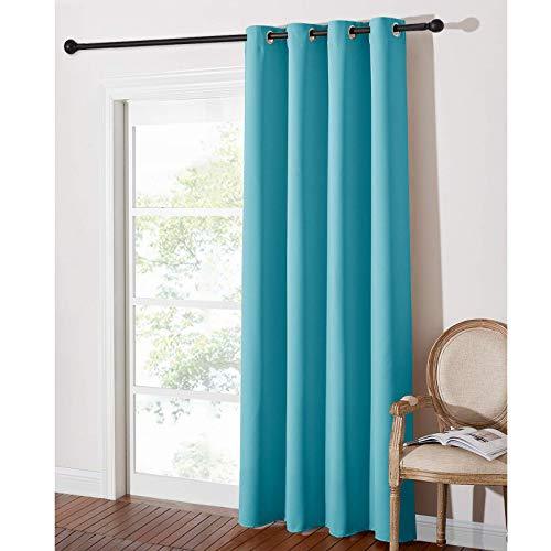 PONY DANCE Cortinas Modernas con Ollaos -Separadores Ambientes Dormitorios Salón Oficina Insonorizantes, 1 Panel, 140 x 240 cm, Azul Turquesa