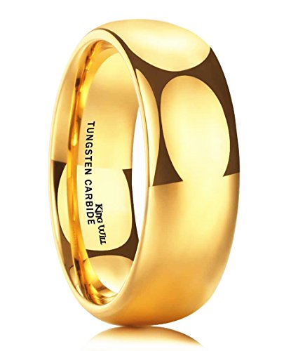 King Will Glory Men's 8mm Tungsten Carbide Ring 24k Gold Plated Domed Polished Finish Wedding Band(8)