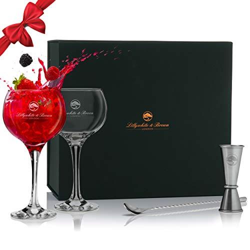 Lillywhite & Brown - Juego de 2 vasos de ginebra con doble cara y cuchara de cóctel | Copa de Balon Cocktail G&T Gin Glass (560 ml) con caja de regalo