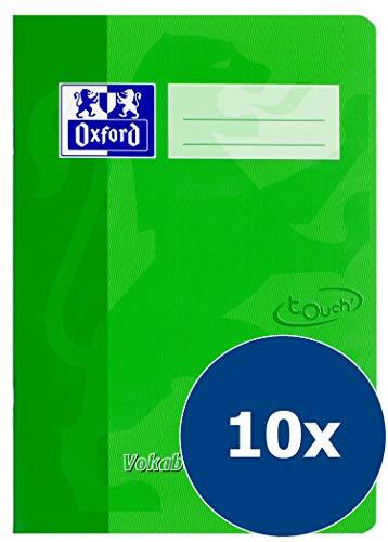 Oxford 400115095 TOUCH A5 Vokabelheft 10er Pack Lineatur 53 mit 2 Spalten 32 Blatt  90 g/m² Optik Paper geheftet in grün