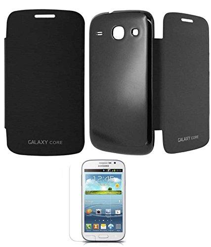 RRTBZ Flip Cover Case for Samsung Galaxy Core I8262 with Screen Guard -Black