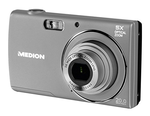 Medion LIFE E44007 Digitalkamera, 20 MP, 5x optischer Zoom, 8x digitaler Zoom, LC-Display, USB-Ladefunktion, silber