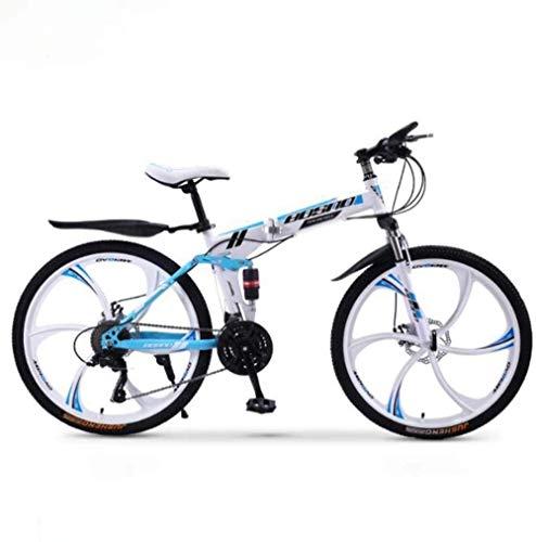 Bicicleta de montaña plegable bicicleta de montaña, 27 velocidades, doble freno de disco de suspensión completa, antideslizante, todoterreno de velocidad variable, color B2, tamaño 26 pulgadas