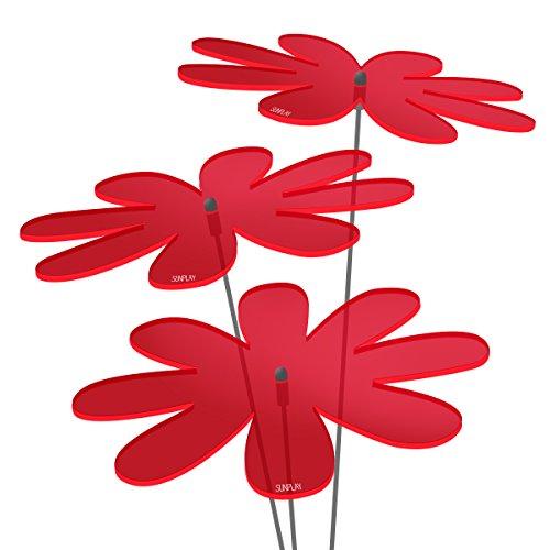 SUNPLAY Sonnenfänger Gänseblümchen in Rot, 3 Stück zu je 20 cm Durchmesser im Set + 70 cm Schwingstäbe