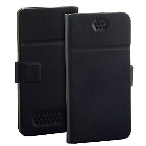 Premium Book Flip Hülle schwarz passend für Wiko Pulp 3G Handy Tasche Schutz Hülle Etui Schale Bookstyle Cover