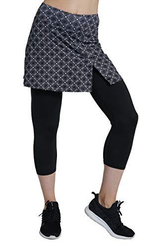 Westkun Pantalones de Falda de Mujer Corte de Hendidura Deportes Tenis Golf Rock Legging 3/4 Tela elástica 2 en 1(Brillante Impresa,L)
