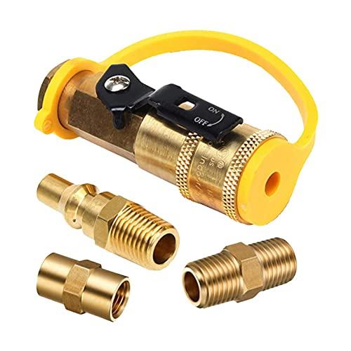 Ulapithi Adaptador de acoplamiento rápido de propano de 1/4 pulgadas para manguera de propano, válvula de cierre de 1/4 pulgadas y enchufe de corriente completa, accesorio de conexión rápida propano