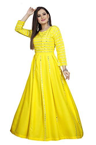 Bhumi Enterprise Embroidered Mirror Work Anarkali Style Gown Kurti for Women