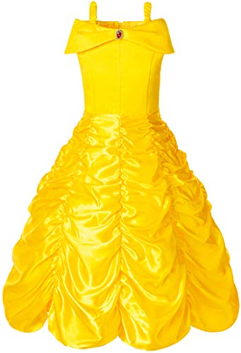 FUNNA Princess Costume Layered Dress Off Shoulder for Girls Dress Up Yellow, 6 Years