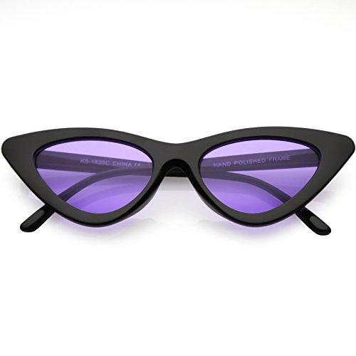 zeroUV - Womens Exaggerated Slim Black Frame Color Tinted Lens Cat Eye Sunglasses 48mm (Black/Purple)