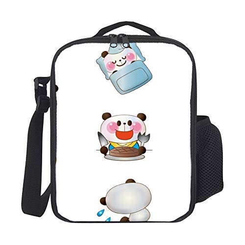 Lunch Bag Portable Thermal Insulated Picnic Lunch Bag Lunch Box With Shoulder Strap For Hot Or Cold Groceries Kawaii Panda Cartoon For Kids Children Tote For Women Men Adult Kids Teens Boys