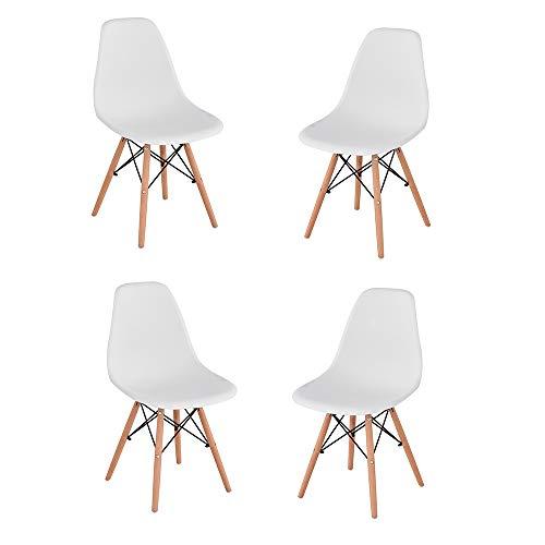 Juego de 4 sillas de comedor de polietileno para cocina, oficina, bar, color blanco